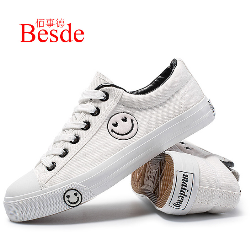 Big size 35-44 ladies sneakers spring/autumn leisure black sneakers 2019 fashion sweet Couple Smiley pattern womens sneakersBig size 35-44 ladies sneakers spring/autumn leisure black sneakers 2019 fashion sweet Couple Smiley pattern womens sneakers
