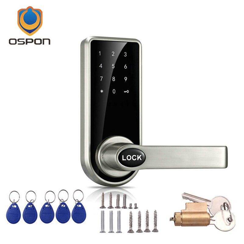 Ospon Os008c Digital Touchscreen Code Door Lock: Electronic Door Lock Touch Screen Password, 4 Cards, 2
