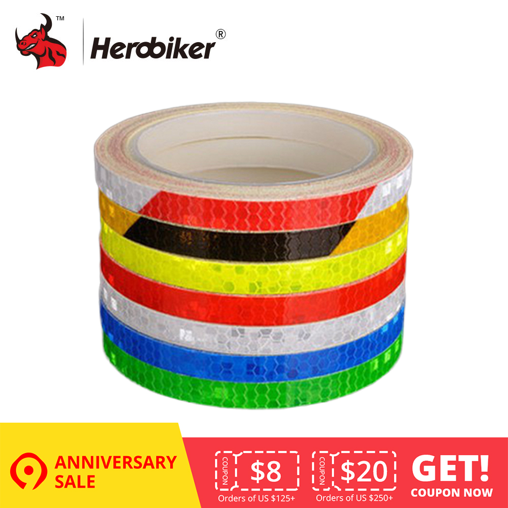 New 8mx1cm Universal Motorcycle Reflective Stickers Strips DIY Bike Car Safety Warning Reflective Tape Wheel Rim Decal Sticker
