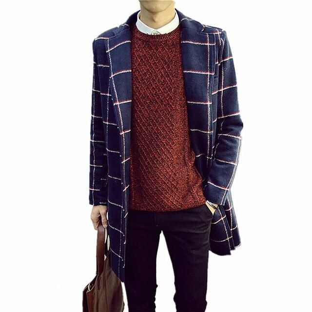 2018 осень-зима новые модные Для Мужчин's Повседневное толстый плед шерсть пальто/Для мужчин длинный тонкий темпера Для мужчин t тренч