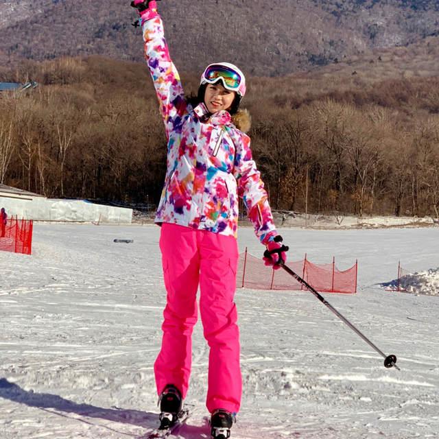 ee061387c4 Gsou Winter Colorful Womens Ski Suits Snowboard Jacket Snow Pants Ski Suit  Female Warm Waterproof Skiing