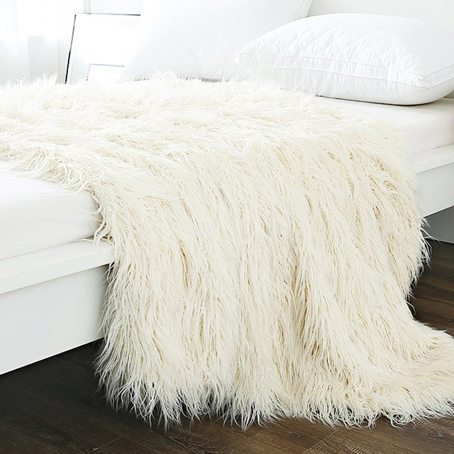 Bon Super Soft Fuzzy Shaggy Lamb Throw Blanket Plush Warm Long Faux Fur Blanket  Bedding Cover For
