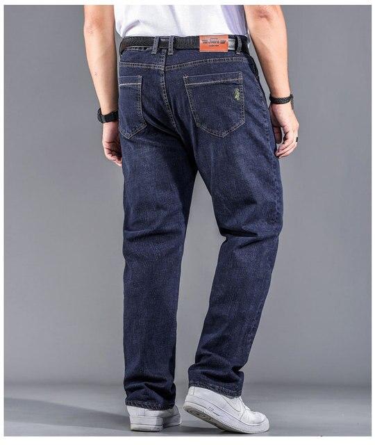 High Quality Stretch Plus Big Size 29 - 44 46 48 90% Cotton Straight Denim Jeans Men Famous Brand 2019 Spring 5
