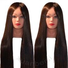100% Высокая температура волокно длинные волосы манекен Парикмахерские Обучение головы модель с зажимом стенд Практика салон манекен головы