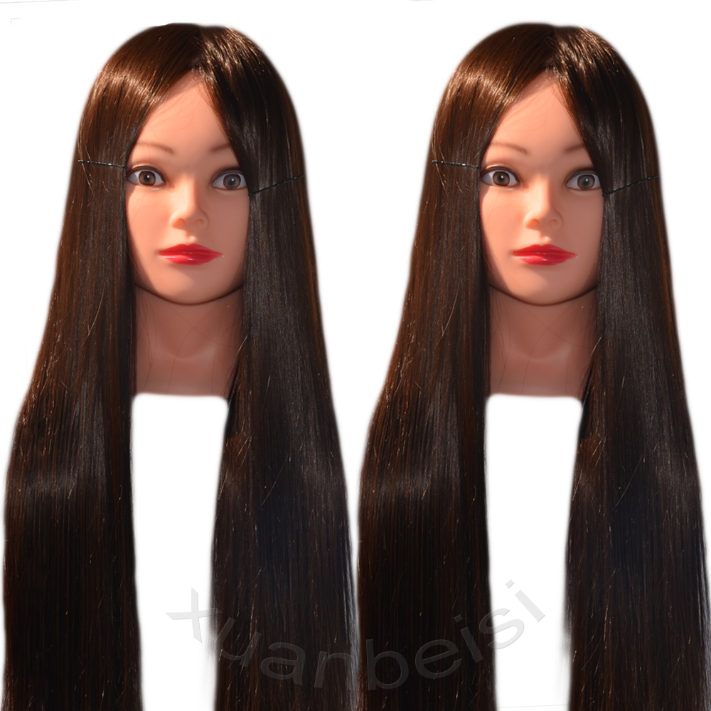 100% High Temperature Fiber Long Hair Dummy Hairdressing Training Head Model with Clamp Stand Practice Salon Mannequin Head