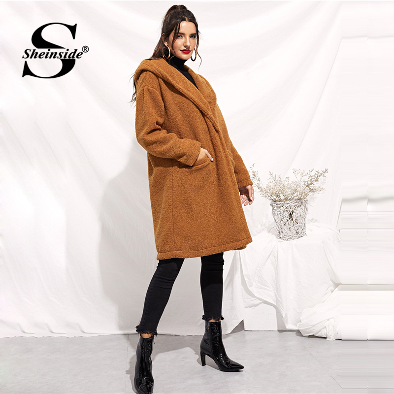 7f79d9ad8d7 Sheinside Brown Drop Shoulder Pocket Front Hooded Teddy Coat Women Winter  Clothes 2018 Long Outerwear Casual Thick Overcoats-in Basic Jackets from  Women's ...