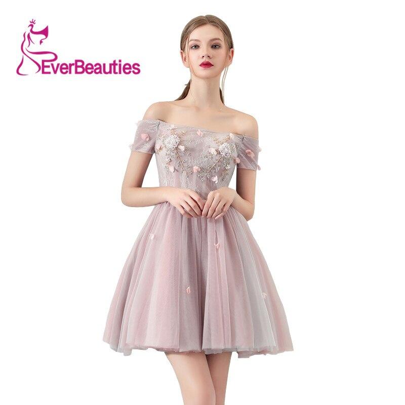 Robes De bal courtes 2019 col bateau dentelle Appliques robe De soirée formelle élégant Vestidos De Gala