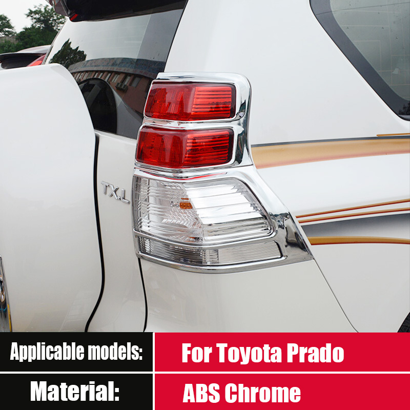 For Toyota Prado 150 Accessories 2010 2011 2012 2013 ABS Chrome Rear Tail Light Lamps Mouldings Tail Light Frame Cover Trim 4pcs
