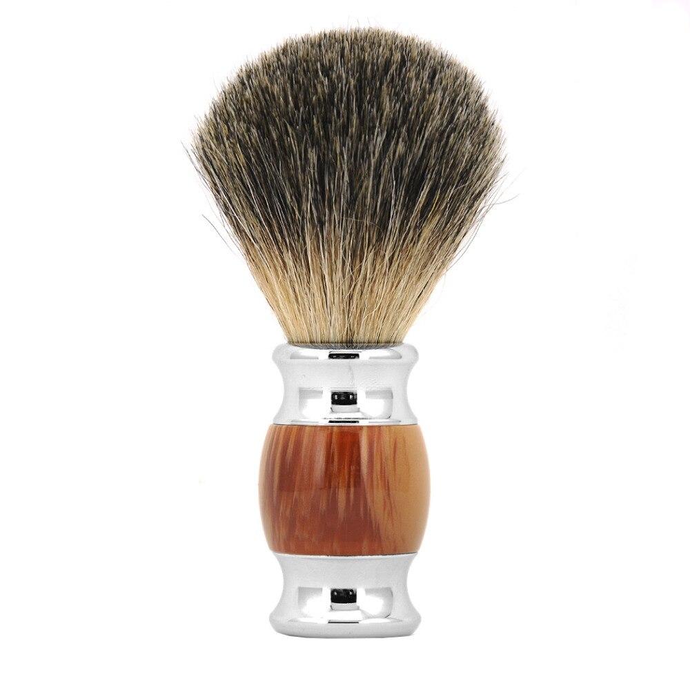 ZY Barber 100% Pure Badger Hair Wet Shaving Beard Brush + Shaving Soap Mug Bowl Cup Men Shave Razor Kit 5