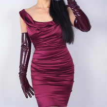 Womans Gloves Patent Leather PU Female Bright Wine Red Simulation Dance Party Cosplay P1370-9