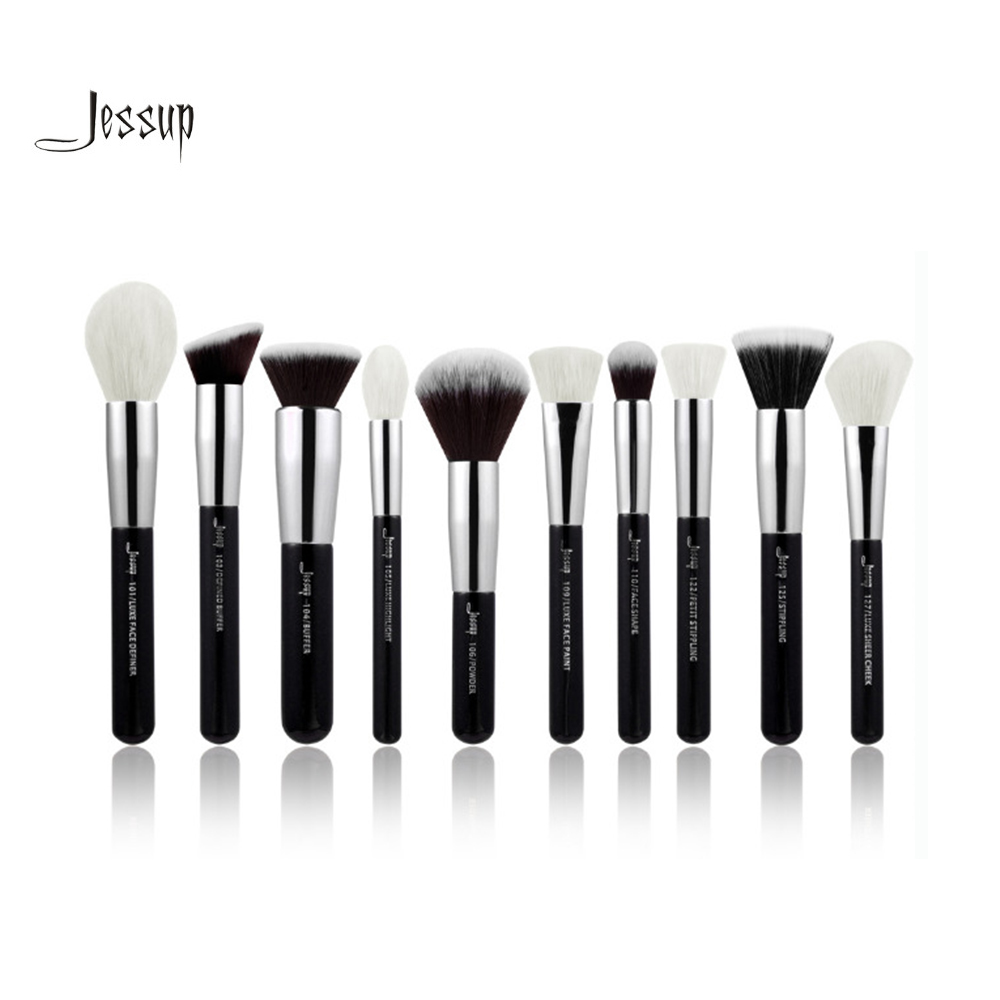 Jessup brushes 10pcs Black/Silver Face Makeup brushes set beauty Cosmetic Make up brush Contour Powder blush все цены