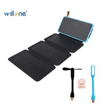 Willone 20000mAh Solar Power Bank  Waterproof Powerbank Charger Fold Portable Power Source With Camping Light For  Phone