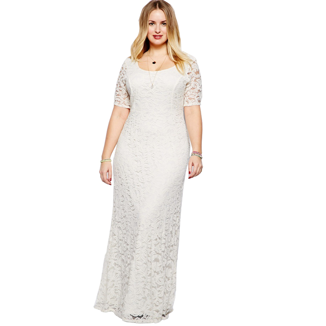 Plus Size Women Clothing 2xl-9xl Long Bodycon White Lace Dress Sexy  Backless Flooring Length f71aff7c32d5