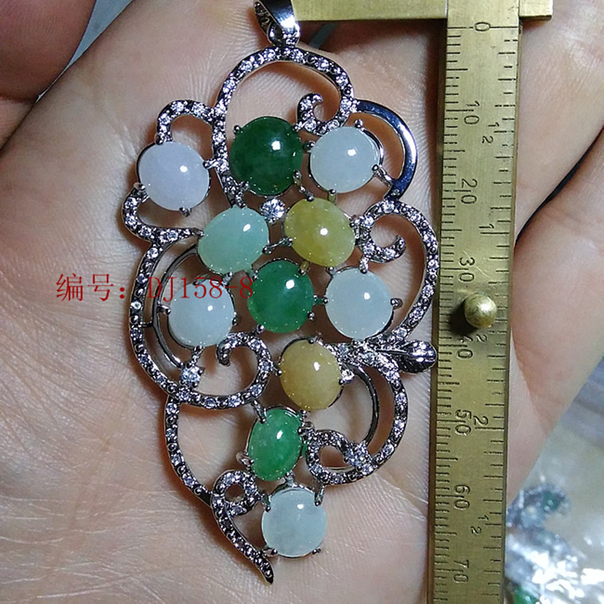Burma's natural A cargo ice filled with green eggs ring face inlaid stone pendant for women/1 green eggs