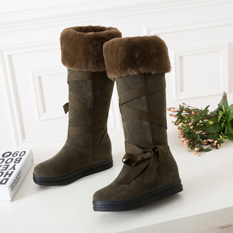 Boots Women Waterproof Solid Fashion Riband Snow Boots For Women Bootlace Suede Leather Plush Fur Lined Girls Winter Shoes