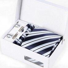new man interview neckwear male mariage necktie formal business kravat gent striped print wedding cufflink hanky neck tie set