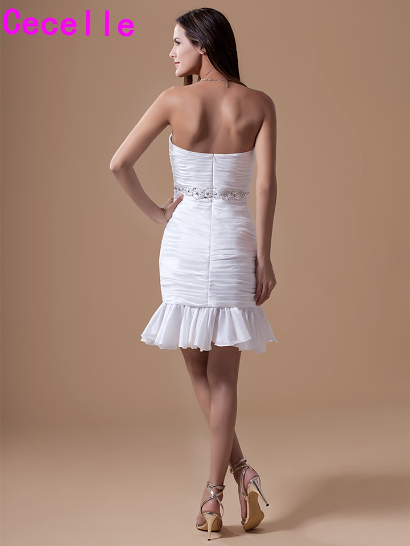 Decent Short Cocktail Dresses Ruched Beaded Strapless Prom Party Dressesjuniors Knee Length Party Dresses Custom Made Cocktail Dresses Fromweddings Short Cocktail Dresses Ruched Beaded Strapless Prom wedding dress Cocktail Dresses For Juniors