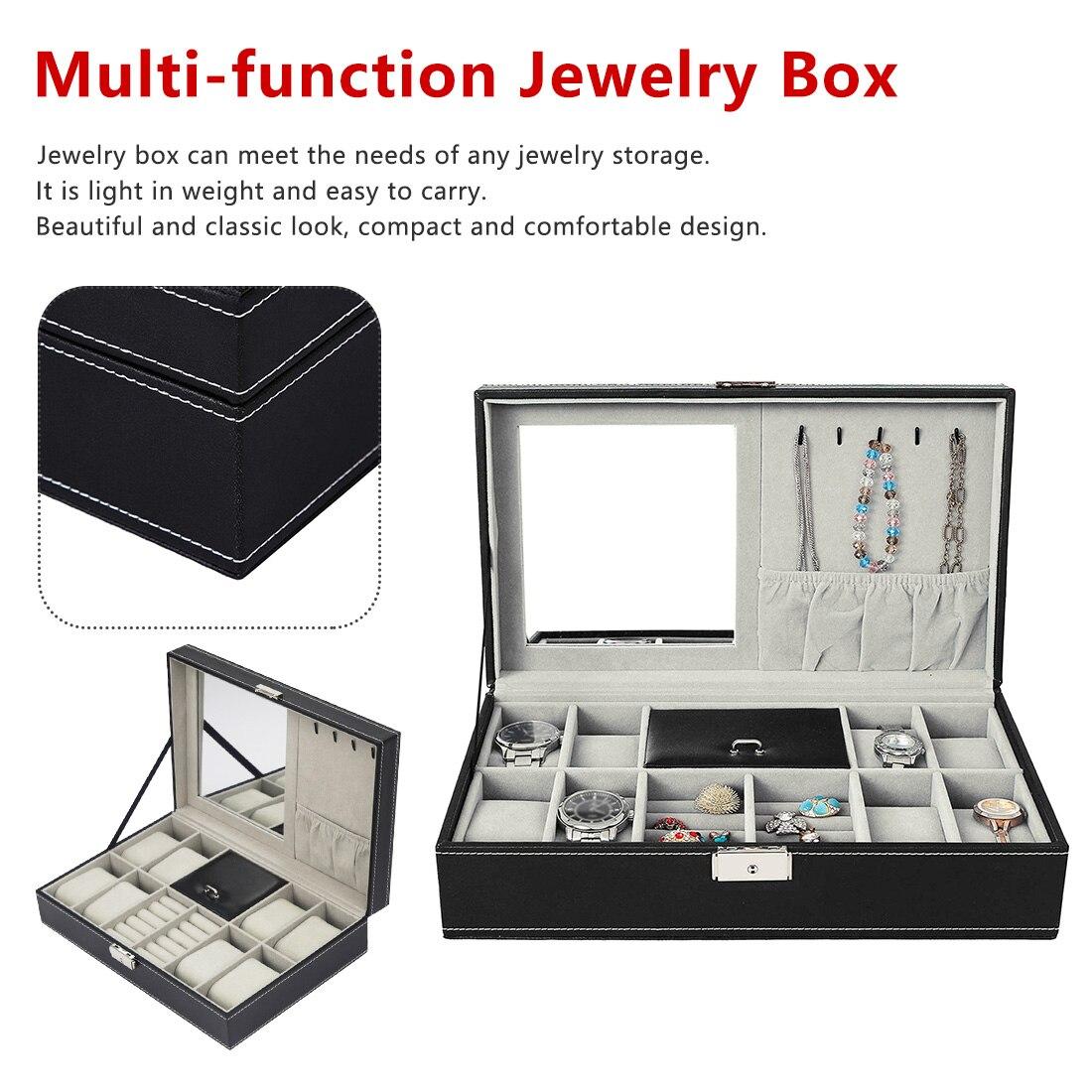 Organisateur de bijoux multifonction pour femmes PU boîte de présentation de bijoux en cuir avec colliers anneaux boîte de rangement d'ornement