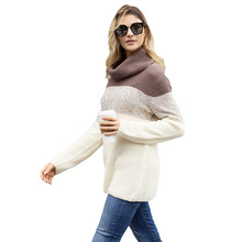 women sweaters computer knitted pullover patchwork girl female 2019 winter hot sale basic