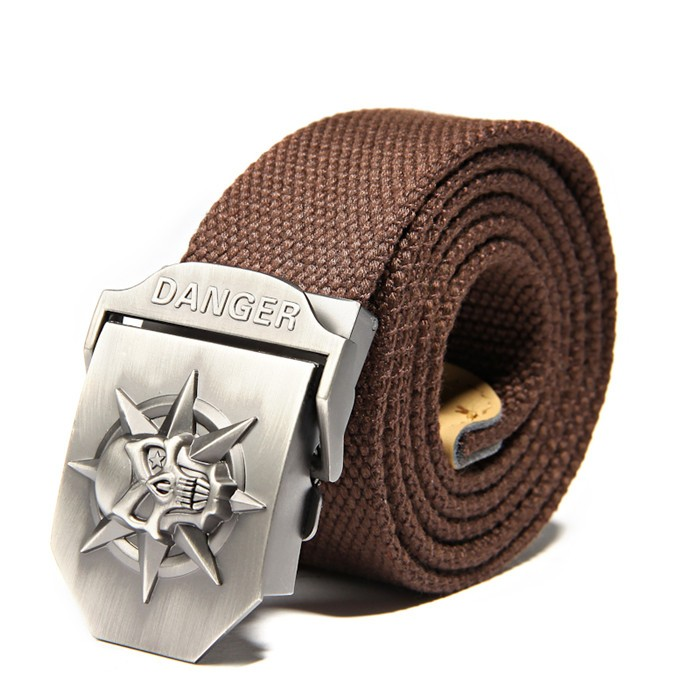 Fashion men's Canvas belt skull Metal tactics woven belt canvas belt Casual pants Cool wild gift for men belts Skull large size 12