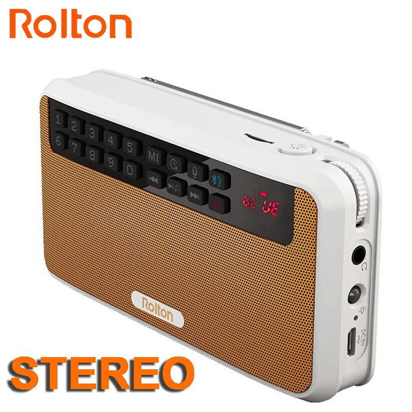 Rolton E500 Stereo Bluetooth speaker FM Radio Portable Speaker Radio Mp3 Play Sound recording Hand Free for Phone And Flashlight panasonic rf p50eg9 s radio fm stereo portable radio receiver music play speaker full band