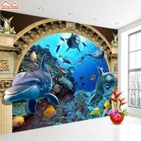 ShineHome-Grande Personalizzata Under Sea World Dolphin Foto Sfondi per Parete 3 d Bambini Soggiorno camera Dei Bambini Delle Ragazze Del Bambino Pareti Murales rotolo