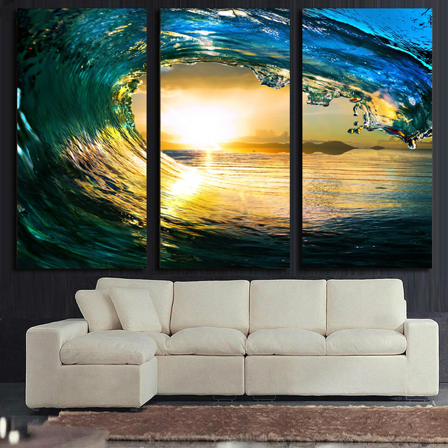 Printed Modular Picture Large Canvas Painting 3 Panels Rolling Wave ...