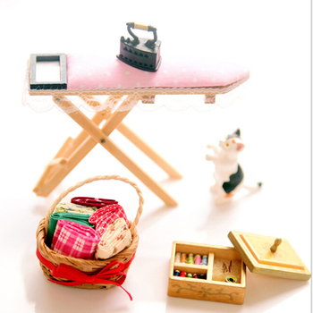 1 Set Mini Lace Iron Ironing Board Dollhouse Furniture For 1:12 scale Doll House Pretend Play Toy Kid Gift 1