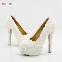 White Lace Pearls Women Wedding Shoes Custom Heel Sexy Bridal Pumps Lace Party Shoes