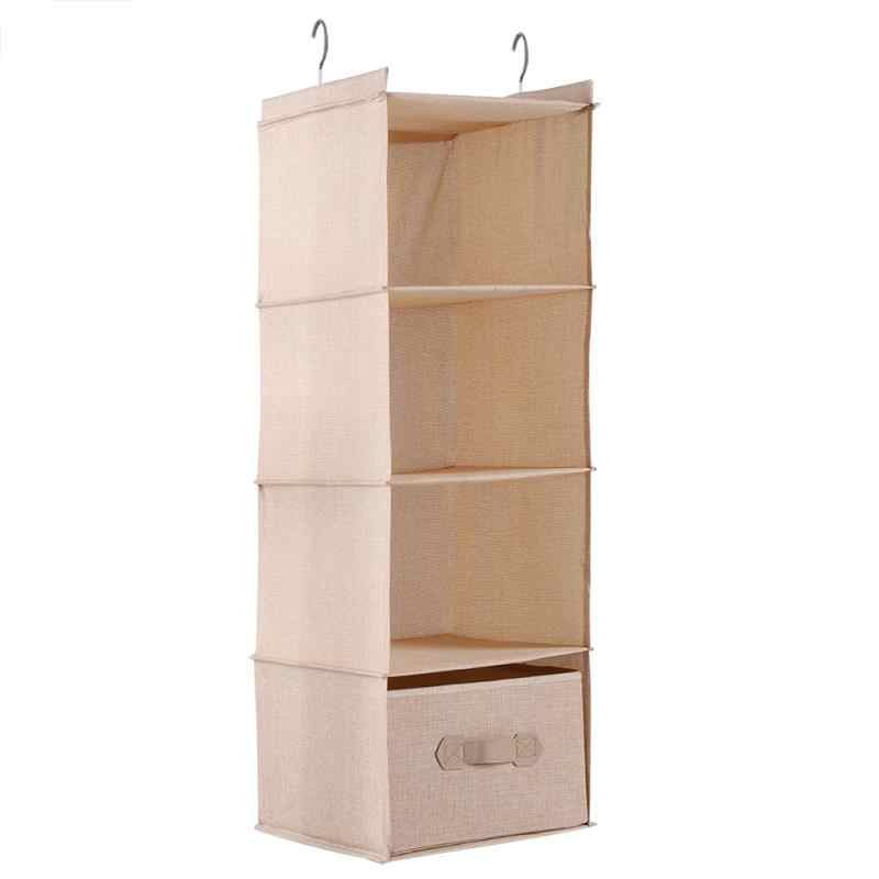 Hanging Closet Organizer Clothes Clothing Storage Holder 4 Shelves with Drawer Linenette Plastic Board