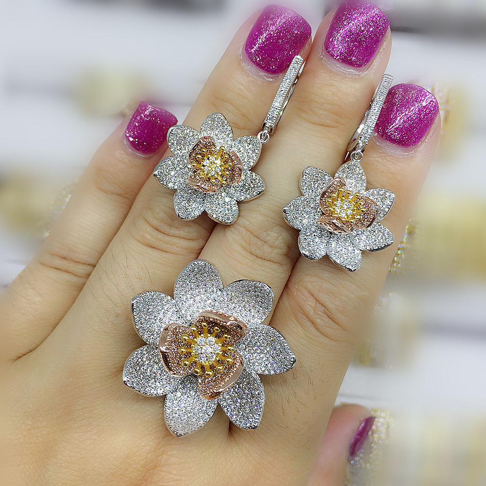 Luxury AAA cubic zirconia micro pave setting rose flower shaped big earring rings set womens accessaries