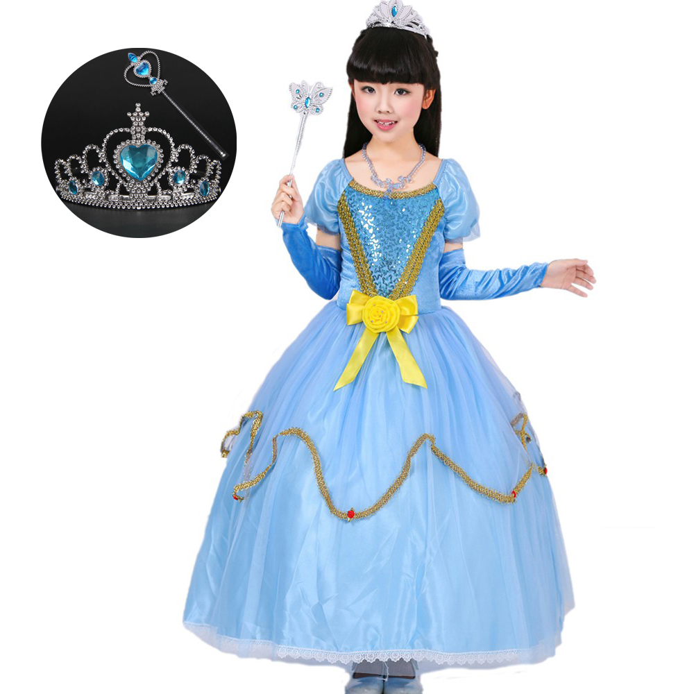 2017 Autumn Kids Dresses for Girls Cotton Long Children Blue Halloween Costumes Princess Cinderella Dress Ball Gown with Gloves 2015 new style movies cinderella princess dresses for kids nice blue princess dresses cinderella fancy costumes child s clothes