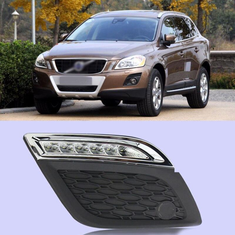 Ownsun New Updated LED Daytime Running Lights DRL With Black Fog Light Cover For Volvo XC60