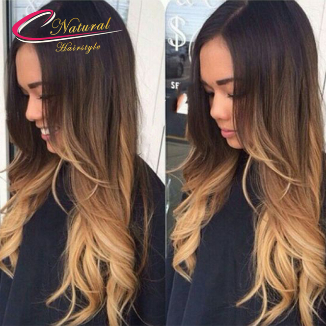 Ombre Three Tone Brown Blonde Human Hair Full Lace Wig Wave