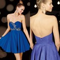 Top Seller A Linha Curta Chiffon de Festa Vestido de Baile Querida Cristais Azul Royal Vestido Homecoming para Meninas Doces 15 anos