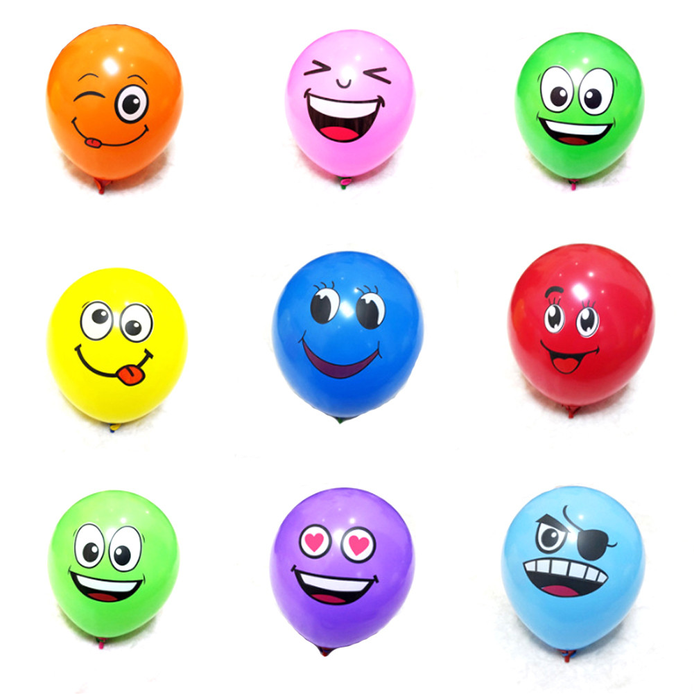 10-100 PCS//Lot Emoji Face Expression Latex Multi color Balloons Birthday Party