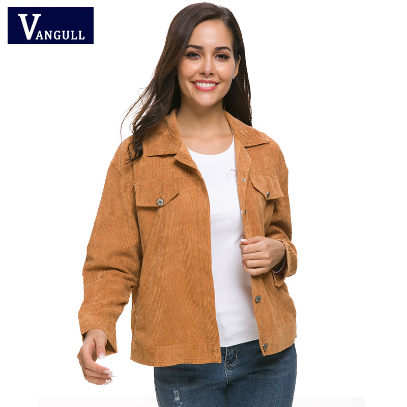 Vangull Spring Women's Clothing solid Corduroy Short Outerwear Single Breasted Wide-waist Female Basic Jackets Long Sleeve Coats