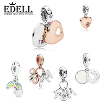 EDELL 100%925 Sterling Silver New Heart Shape Mother's Day Series Happy Rose Gold Rainbow Pendant DIY Gift Necklace