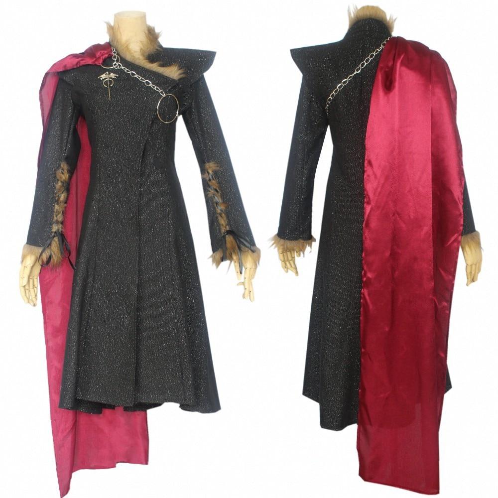 Game Thrones Daenerys Targaryen Costume Season 7 Cosplay Fancy Dress Black Outfit Cloak Halloween Carnival Fancy Dress