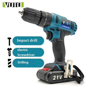 21V Electric Drill Lithium Battery Cordless Drill Home DIY WoodWork Impact Electric Screwdriver Drilling Double Speed LED Light