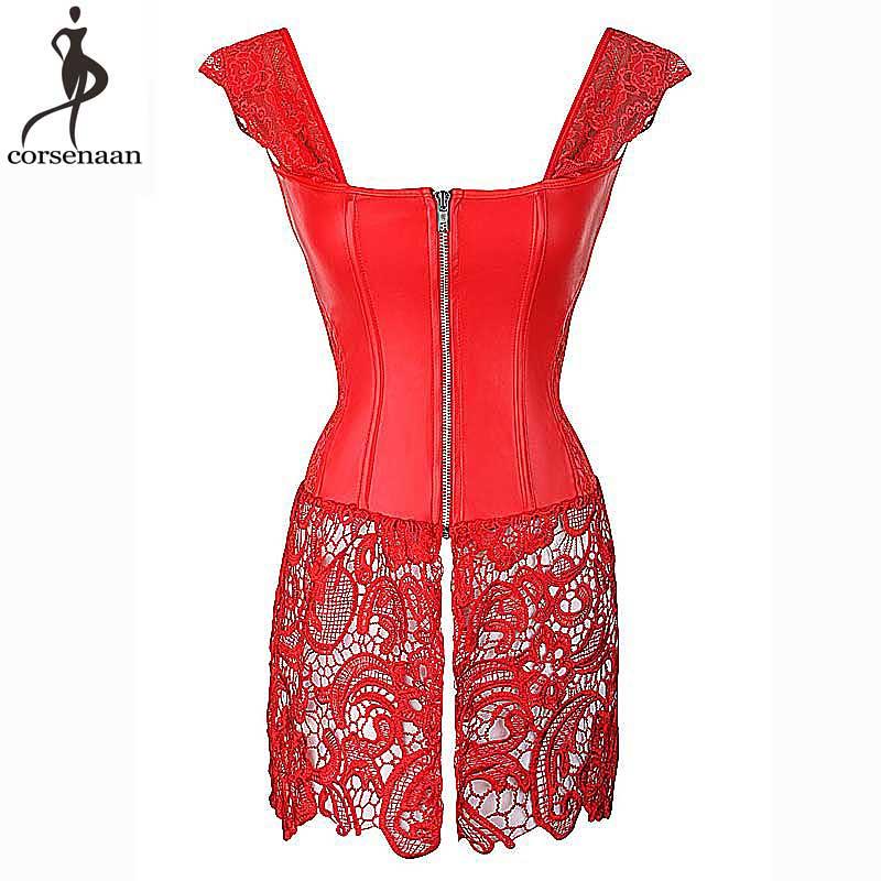 Sexy Red Corset Dress Plus Size 6XL Bustier Dresses Overbust Corsets Bustier Steampunk Gorset Faux Leather Corselet Lace Korsett