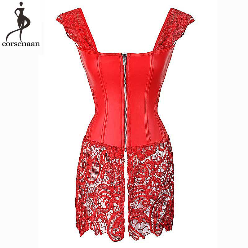 Sexy Red Corset Dress Plus Size 6XL Bustier Dresses Overbust Corsets Bustier Steampunk Gorset Faux Leather Corselet Lace Korsett