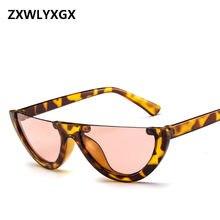 3747d007925b5 Cool Trendy Half Frame Rimless CatEye Sunglasses Women 2018 Fashion Clear  Brand Designer Sun glasses For Female Oculos de sol