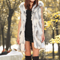 2016 Señoras de La Moda de Invierno Chaleco Chaqueta Sin Mangas Con Capucha Chaleco Largo del Diseño De Piel Falsa Caliente Outwear Sólido Chaleco chaleco femenino