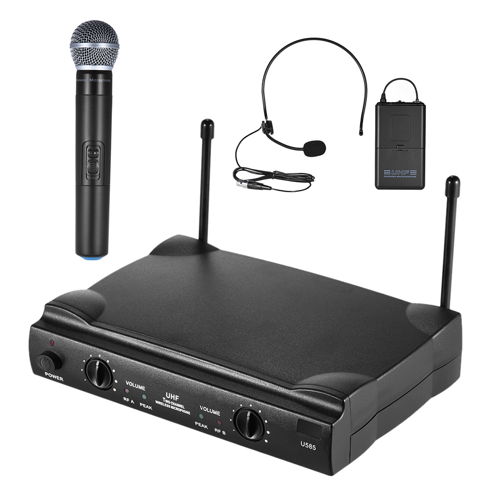 uhf dual channels wireless microphone mic system with1 bodypack transmitter 1 headset and 1. Black Bedroom Furniture Sets. Home Design Ideas