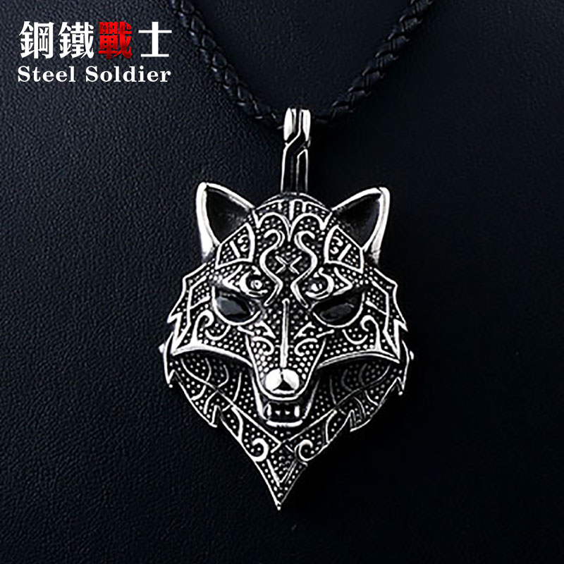 Steel soldier viking necklace thor howling wolf with black stone charm pendant necklace man punk jewelry stainless steel chain Ожерелье