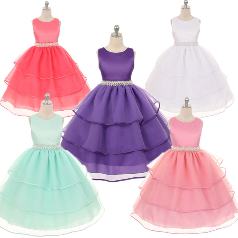 2017 Baby Girls 2-12 Years Tutu Party Dresses White Pink Lace Princess Dress Roupas Infantis Menina Sequined Flower Girl Dresses 2016 summer new baby girls party dress sequin tutu princess dress for girl suit 2 7t kids white roupas infantis menina
