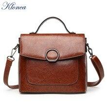 Klonca freeshipping chic female handbag new designer round ring flap bag high quality PU leather versatile crossbody 2019