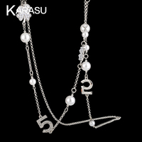 Real White Gold Plated Clover Flower Simulated Pearl Beads With Double Letter 5 Long Necklaces Pendants