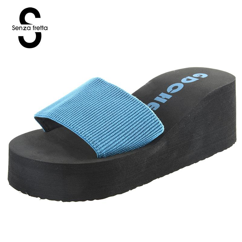 Senza Fretta Summer Woman Shoes Slippers Platform Slippers  Flip Flops High Heel Slippers For Women 3 Color Eva Ladies Shoes dreamshining summer leather sandals stripethick heel slippers woman platform wedges summer shoes pumps woman flip flops